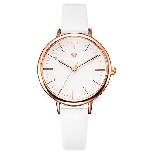 ZZTX FASHION Damen Armbanduhr Frauen Analog Quarz Uhr mit Leder Armband Mode Wasserdicht Uhren Elegante Watch mit Geschenkbox Beste Collection für Mädchen Freundin Ehefrau,Weiß