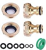OHAYORI 2 Stück Gartenschlauch-Wasserhahn-Anschluss, passend für Messing-Gewinde-Wasserhahn-Adapter 1/2 Zoll (21 mm) und 3/4 Zoll (26,5 mm) Größe 2-in-1