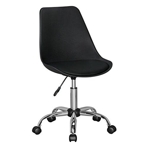 Amstyle Korsika, Drehstuhl mit Kunstleder-Sitzfläche, Design Drehsessel Wartezimmerstuhl ist höhenverstellbar, Schreibtischstuhl mit Rückenlehne, Bürostuhl/ Jugendstuhl mit Schalensitz schwarz