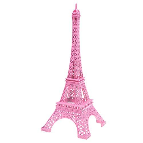 non-brand Estatuilla de Figura de Torre Eiffel Mini Modelo para Exhibición de Contrucción Mundial Artesanía para Hogar Coche - Rosa 25cm