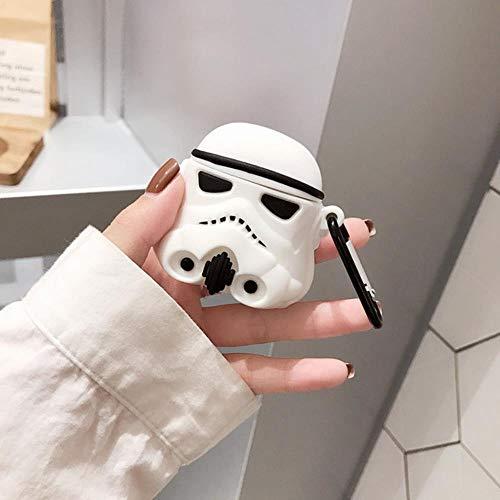 para Airpods 2 Funda 3D Star Wars Fundas de Auriculares Bluetooth inalámbricos de Silicona Suave para Apple para Funda Airpods Funda Funda, Star Wars Blanco