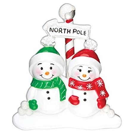 Grantwood Technology Personalized Christmas Ornaments Family Series- North Pole Family of 2 / Couples Christmas Ornaments/Couples Ornament/Personalized Family of 2 Ornaments/Personalized by Santa