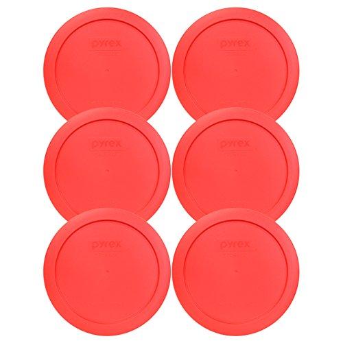 Pyrex 7201-pc ronde 4 de tasse de stockage de couvercle pour bols en verre (6, rouge clair)