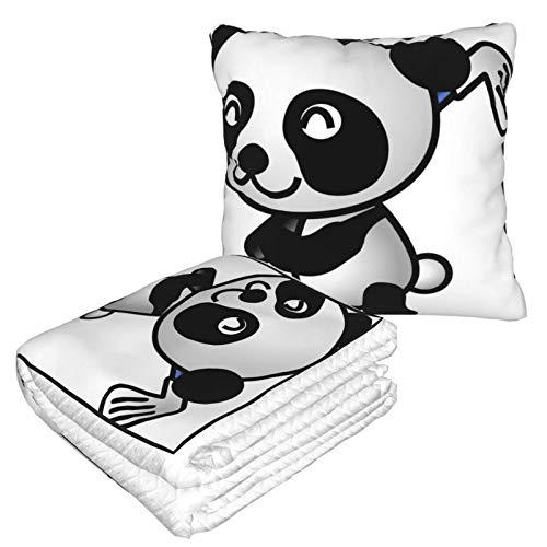 AEMAPE Cute Pandas Golf Play - Manta de Almohada para Coche, Manta para sofá, Manta de Almohada de Viaje, cálida y Gruesa, Almohada de Felpa para el Cuello de avión para Dormir