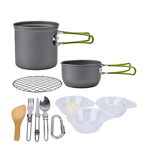 YepYes Utensilios De Cocina De Camping Kit Hikking Cocinar Kit De Picnic Antiadherente De Cocción Fijado con Vajilla para Mochilero Trekking Verde