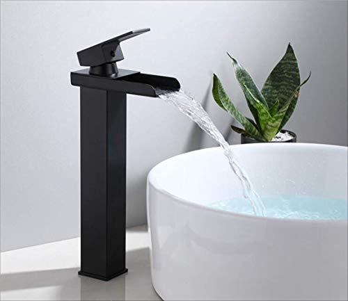Basin Faucet Black Waterfall Faucet Mixer Tap Brass Baño Faucet Baño Faucet Mixer Tap Grifo Caliente Y Frío Fregadero Grifo B
