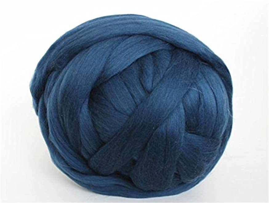 Giant Wool Yarn Chunky Arm Knitting Super Soft Wool Yarn Bulky Wool Roving (250g/0.55 lbs, Navy Blue)