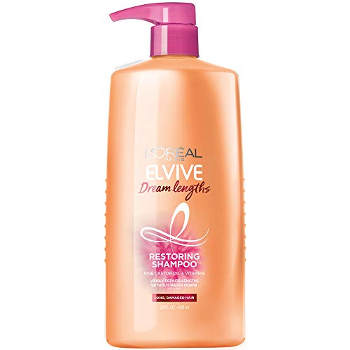 L'Oreal Paris Elvive Dream Lengths Restoring Shampoo With Fine Castor Oil and Vitamins B3 and B5 for Long, Damaged Hair, Visibly Repairs Damage Without Weighdown With System, 28 Fl Ounce