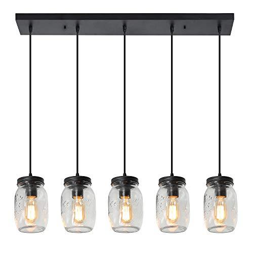 XIPUDA Farmhouse Chandeliers Light Fixture, Dining Room Pendant Lighting, Kitchen Island Light, Rustic Mason Jar Ceiling Lights