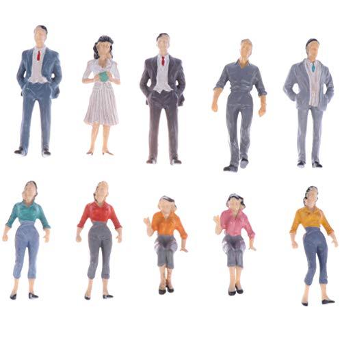 WINOMO 10 Stücke Menschen Figuren 1:75 Sitzende und Stehende Modell Spielfiguren Sammelfiguren Miniatur Figuren Set für Eisenbahn für Kinder Geburtstag Mitgebsel Spielzeug Geschenke- Zufällig