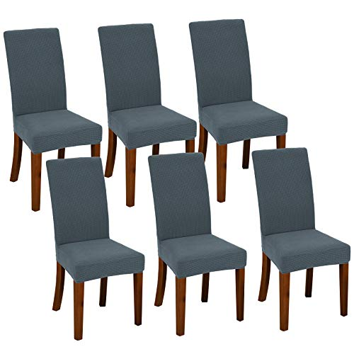 Chair Covers for Dining Room Set of 6 Dark Grey Stretch Slipcovers Parsons Chairs Covers Kitchen Chair Covers