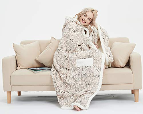MARQUESS Hooded Throw Robe Wrap Ultra Soft Plush Coral Fleece & Sherpa Wearable Blanket with 2 Pockets Print Chic Lifestyle Gift 51 x 71'' (Beige Point)