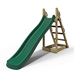 Free standing wooden platform Pressure treated timber Injection moulded slide Durable and strong design Space under platform for toy storage