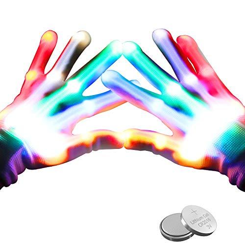 lenbest Guanti LED, Guanti Luminosi Bambini Luci Dito con 3 Luci Colorate e 6 modalità, Regalo Giocattoli Guanti per Feste, Club, Halloween, Conceti e Festival (Consegna della Batteria)