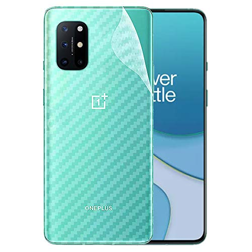 LINLO Compatible for OnePlus 8T Ultra Thin Slim Fit Clear Transparent 3D Carbon Fiber Back Skin Rear Screen Guard Protector Sticker Protective Film Wrap Not Glass (Carbonn)