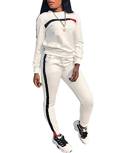 KANSOON Women Stripe Patchwork Two Piece Sweatsuit Round Neck Pullover and Skinny Long Pants White XXXL