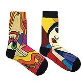 ROBIN LOUIS ® Calcetines altos con dibujos hombre y mujer, estampados originales para invierno y verano con cuadros famosos, divertidos. Diseños atractivos y elegantes. (Contemporáneo 1)