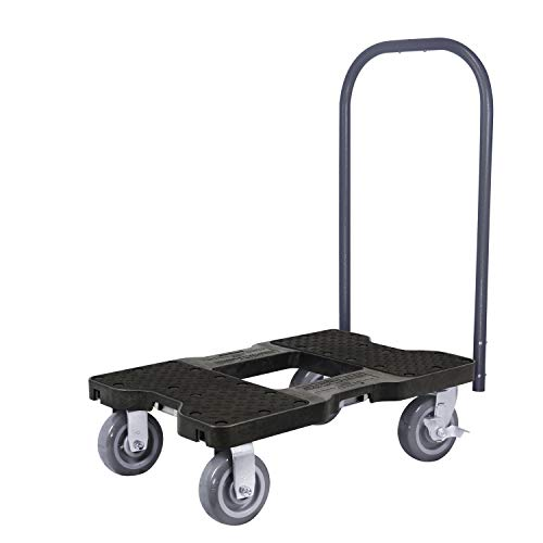 SNAP-LOC 1800 LB Super-Duty Push CART Dolly Black with Steel Frame, 6 inch Casters, Push Bar and Optional E-Strap Attachment