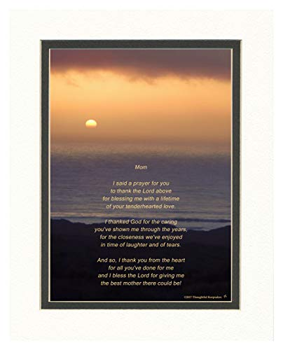 Mom Gift with Thank You Prayer for Mom Poem. Ocean Sunset Photo, 8x10 Double Matted. Special Gifts for Mom. Mother Gifts for Birthday, Christmas, Wedding or Mothers Day Gift