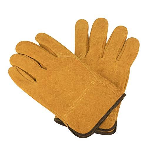 Gants de soudage en cuir, résistants à la chaleur, résistants à la chaleur, ignifuges pour le soudage, le jardinage, la cheminée de camping, le poêle, le barbecue