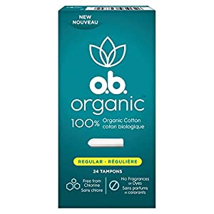 o.b. Organic Tampons, Made with 100% Organic Cotton, Proven 8 Hour Leak Protection, Super, 24 Count