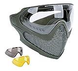 JOYASUS Airsoft Mask Tactical BB Paintball CS Wargame Máscara de malla de acero con 2 lentes para casco rápido