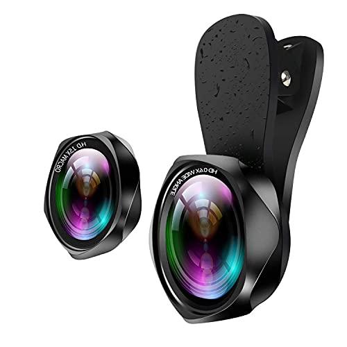 スマホレンズ 広角レンズ 高画質 マクロレンズ クリップ式 スマホ用カメラレンズ 自撮りレンズ 歪みやケラレなし 簡単装着 ローズ型2in1 携帯レンズ iphone ipad Android xperia対応 Yarrashop