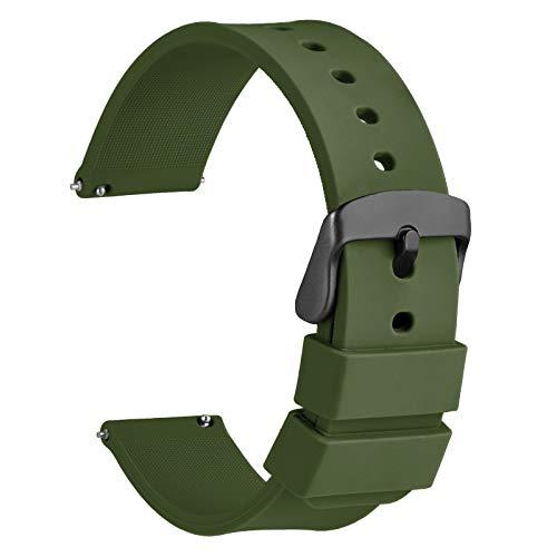 WOCCI 20mm Silicona Correa Reloj con Hebilla Negra, Liberación Rápida para Hombre Mujer (Verde Militar)