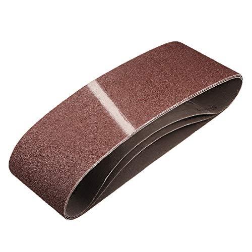 sourcing map 4' x 24' 60 Grit Sanding Belt Aluminum Oxide Sandpaper Belts for Portable Strip Sander Wood Finishing Metal Drywall Polishing Sharpening Abrasive Paper 3pcs