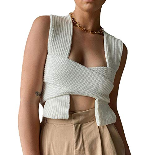 Women's y2k Tank Top Cropped Corset Tops,Sexy Knitted Halter Neck Lace-up Casual Irregular Solid Color Blouse, Sleeveless Crop Top Vest E-Girl Aesthetic (White, One Size)