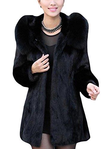 LaoZan Damen Warm Mantel Für Winter Kunstpelz Lange Jacke Parka Winterjacke Mit Kapuze Schwarz XL