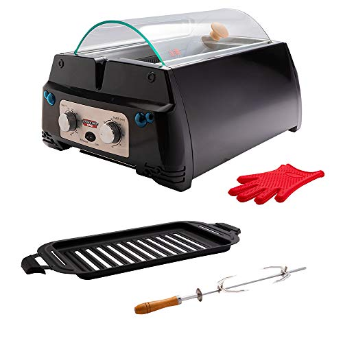 Kitchen Chef Indoor Smokeless Rotisserie Grill (SRG) – Large Capacity – Multi Functional – Stainless Steel Construction – Auto Shut Off – Flameless Infrared Heating Technology – Tempered Glass Lid And Drip Tray – Black