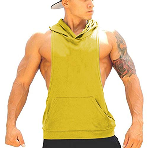 Panegy Bodybuilding Stringer Gym Hoodie Tank Top Sport Fitness Sleeveless Shirt - Yellow M