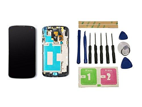 Flügel para LG Google Nexus 4 E960 Pantalla LCD pantalla Negro Táctil digitalizador Completo Pantalla ( con marco ) de Recambio & Herramientas