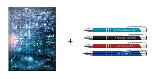 Herlitz Schülerplaner 2019 - 2020 / A5 + 4 Kugelschreiber mit Gravur