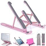 Acksonse Soporte para ordenador portátil, ajustable, ligero, antideslizante, elevador plegable, para portátil de 10 a 17 pulgadas, color rosa