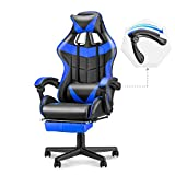 Soontrans High Back Computer Chair of Racing Style Gaming Chair Ergonomic Desk Chair with Height and Backrest Recline Adjustable,Full Armrest, Footrest Headrest and Lumbar Pillow(Blue)