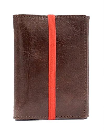 Piamonte - Cartera de Piel desplegable Icon 950; con Billetera y Tarjetero, Minimalista y Slim [Handmade] - Marrón + Rojo