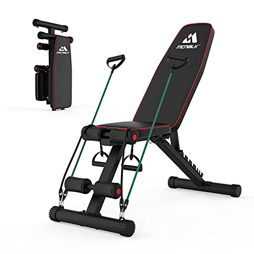 MCNBLK Adjustable Weight Bench 400lbs Capacity, Incline Decline Weight Lifting Workout Bench Home...