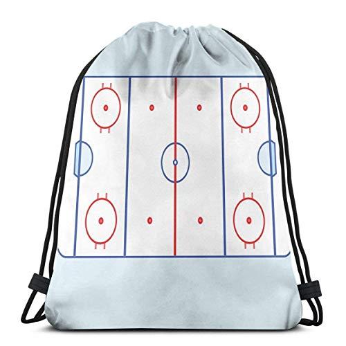 Campo de hockey sobre hielo en tonos azules y esquema gráfico rojo para eventos deportivos, cierre de cuerda ajustable impreso con cordón mochilas bolsas