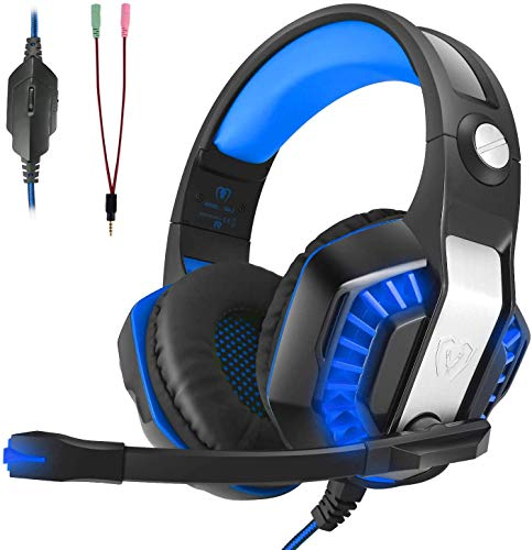 CHEREEKI Gaming Headset für PS4 PC Xbox One, LED Licht Bass Surround Sound Professional Kopfhörer mit Mikrofon für Laptop Mac Handy Tablet
