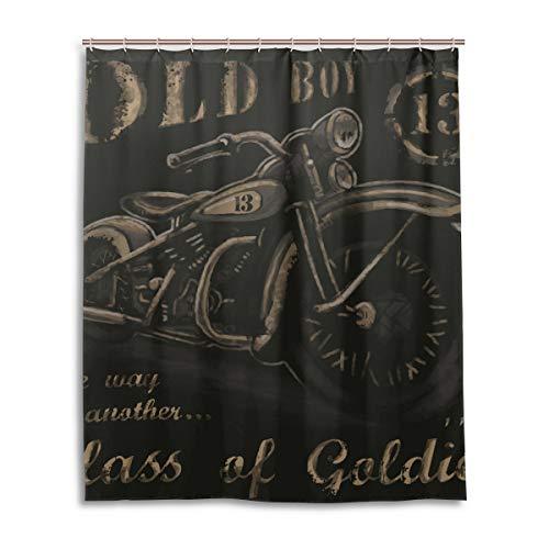 JSTEL Decor Duschvorhang Vintage Boy Motorrad Muster Print 100prozent Polyester Stoff Duschvorhang 152,4 x 182,9 cm für Home Bad Deko Dusche Bad Vorhang