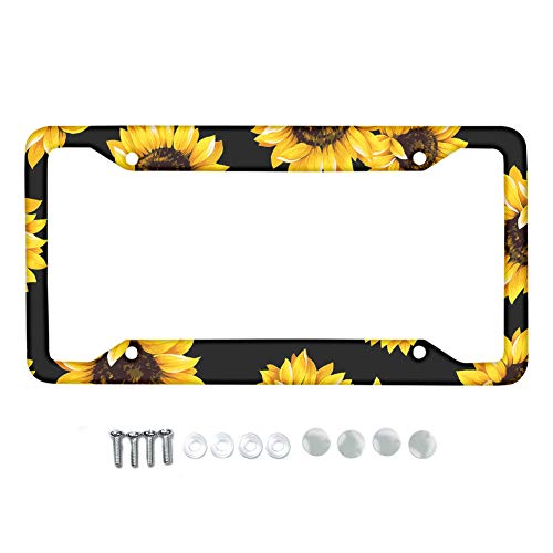 Pizding Yellow Sunflower License Plate Frame,Handmade Waterproof License Plate Cover Stainless Metal Plate Holder Novelty Vanity License Plate Tag Sign Car Exterior Accessories Gift for Women