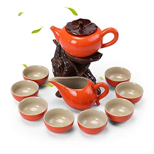 Kung Fu Tea Set Ceramic Teapot Set Tea Cup Coffee Cup Semi-automatic Tea Maker Best Gift Coffee Servers (Color : Orange)