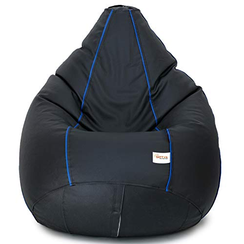 SATTVA Classy.Elegant.Stylish Classic 3XL Bean Bag Filled with Beans (Colour -Black with Royal Blue Piping)
