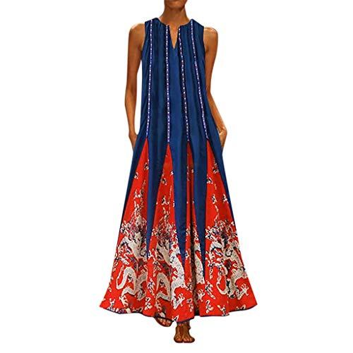 iYmitz Damen Vintage Maxikleid Daily Casual ärmellose Gestreifte Schmetterling Gedruckt Sommerkleid