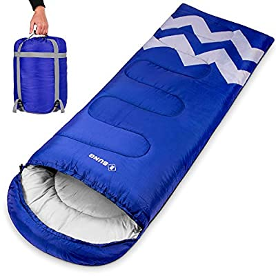 Ebung Sleeping Bag for Cold Weather - Envelope Portable Ideal for Winter, Summer, Spring, Fall - Outdoor Camping, Hiking, Traveling-Adults,Kids,Boys,Girls-Lightweight Waterproof Washable (Blue)