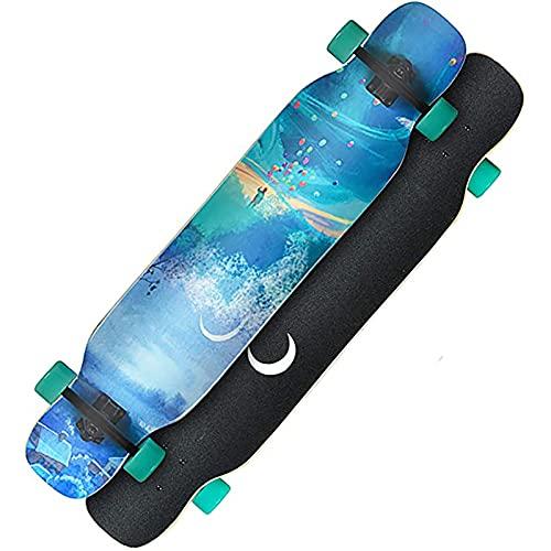 F&FSH Freestyle Drop-Through Longboard Skateboard Cruiser, (Bright Moon Muster) 44 Zoll Bambus + Maple Deck Skateboard Laden Sie Bis Zu 400 Pfund Für Cruising Carving Free-Style Und Downhill