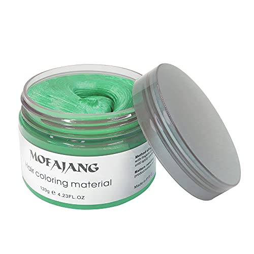 Green Temporary Hair Dye Wax NaturalInstant Hair Color Wax Pomades 4.23 oz ,Hair Styling Clay for Party, Cosplay , Halloween,Christmas