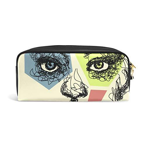 DEZIRO Art Vrouw Gezicht Schilderij Potlood Case Box Cosmetische Tas